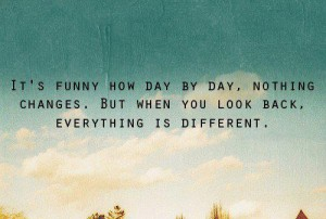 It's funny how day by day nothing changes